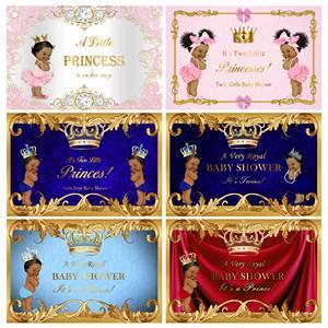 Image 3 - NeoBack خلفية زرقاء ملكية ماسية للأولاد والبنات ، الأمير الذهبي ، خلفية استحمام الطفل ، لافتة ضوئية لحفلات أعياد الميلاد