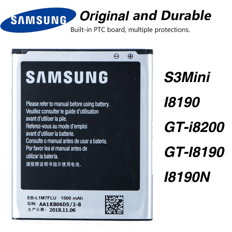 Original Samsung EB-L1M7FLU Battery For Samsung Galaxy S3 Mini S3Mini I8190 GT-i8200 GT-I8190 I8190N NFC 1500mAh image