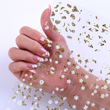 Nail stickers 3D adhesive self-adhesive waterproof nail decals can be used bronzing white nail polish patch image