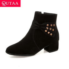 QUTAA 2020 Ankle Boots Square Med Heel Women Shoes Elegant Pointed Toe Rivet PU Leather Motorcycle Casual Big Size 34-43(China)