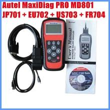 2012 Autel MaxiDiag PRO MD801 4 in 1 코드 리더 (JP701 + EU702 + US703 + FR704) 무료 배송