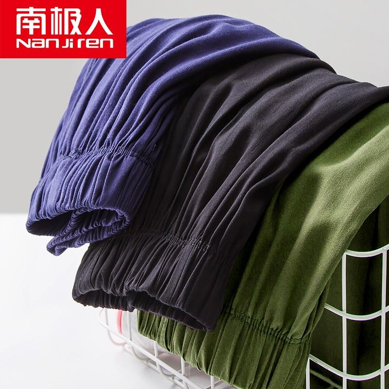 nanjiren Summer cotton silk men's five-point home pajama pants thin loose large size sports pants home casual shorts