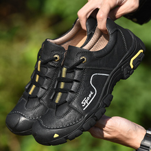 Mens Hiking Shoes High Quality Genuine Leather Outdoor Comfortable Sneakers Waterproof Trekking Trail