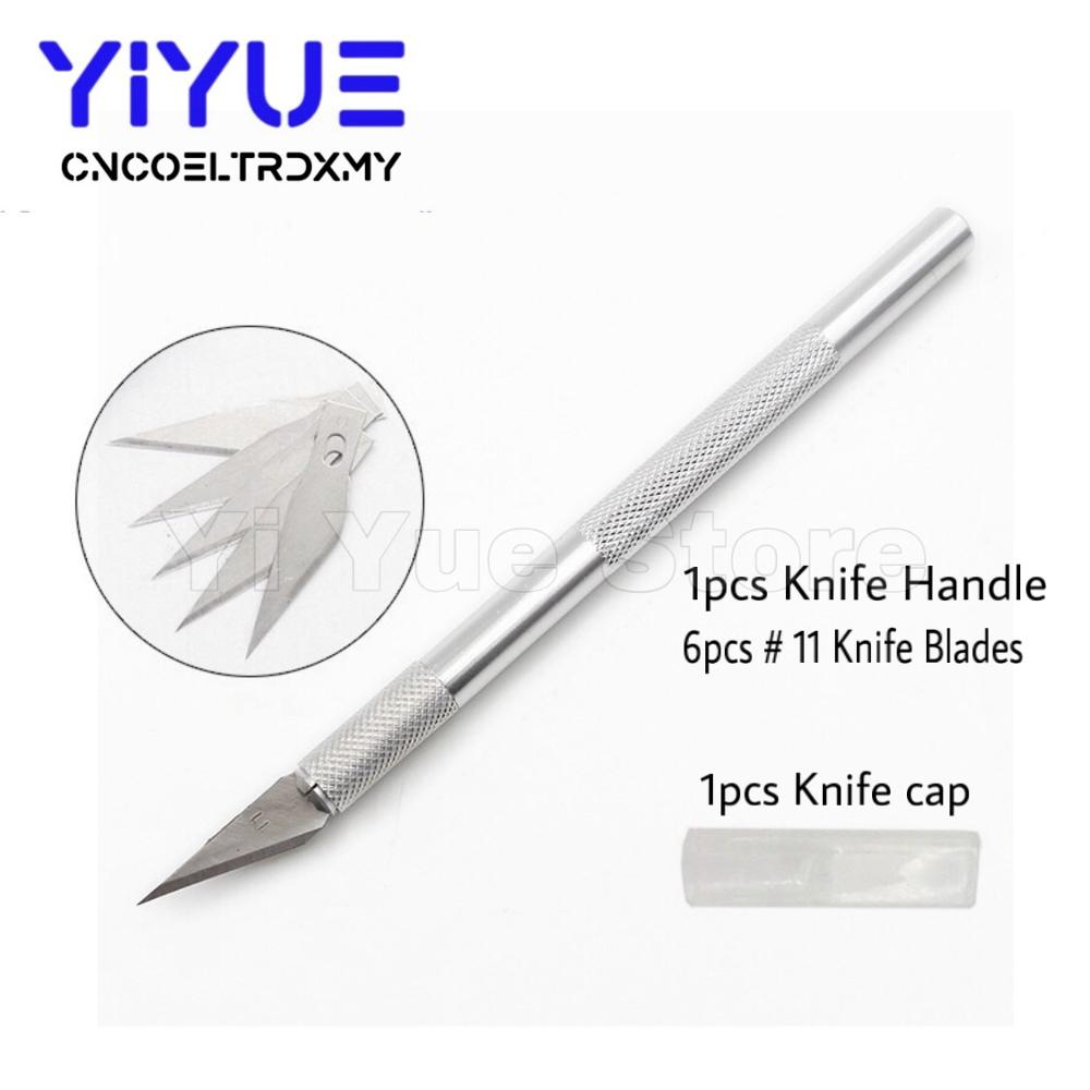 6pcs/Set Wood Paper Cutter Pen Knife Scalpel Steel Blades #11 Engraving Knives For Crafts Arts Drawing DIY Repair Hand Tools