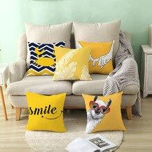 цена Yellow Decorative Pillowcase Pineapple Yellow Leaf Throw Pillow Case Polyester Printing Pillow Cover Home Decor онлайн в 2017 году