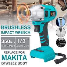 NEW 18V 350Nm Electric Brushless Impact Wrench Rechargeable 1/2 Socket Wrench Power Tool for Makita Battery With LED Light