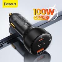 Baseus-cargador USB de coche PD 100W, carga rápida 4,0, QC4.0, QC3.0, tipo C, carga automática, para teléfono móvil iPhone y Xiaomi