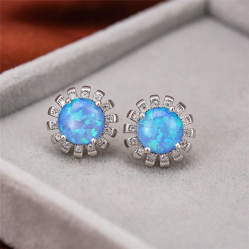 White/Blue/Green/Pink Fire Opal Sun Flower Stone Stud Earrings for Women Silver Color Rainbow Jewelry Birthstone Earrings