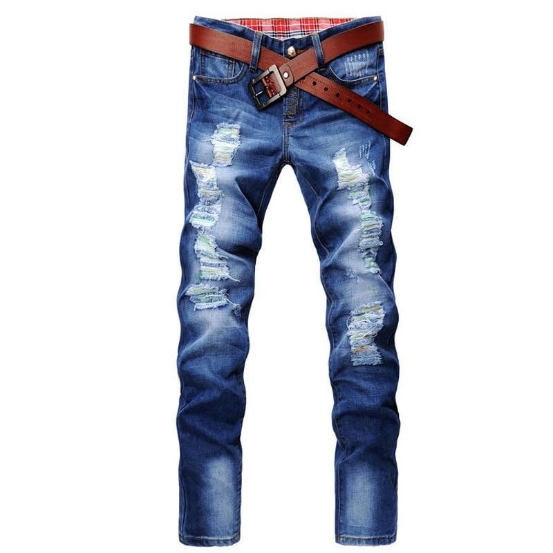 2019 New Style Men With Holes Jeans Men's Korean-style Fashion Paint Slim Fit Cowboy Trousers