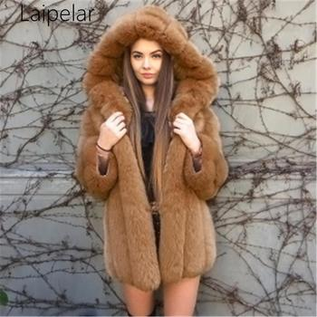 New Hooded Long Sleeve Women Coat Faux Fur Thicken Coat Plus size Fur Hooded Parka Long Thick Plush Coat Women Outerwear casual thick faux fur hooded long sleeve bodycon coat for women page 4