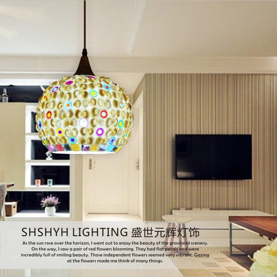 Bohemia Mouth Shell Glass Shade Pendant Lamp Aisle Dining Room Bedroom Single Head Bed Hanglamp
