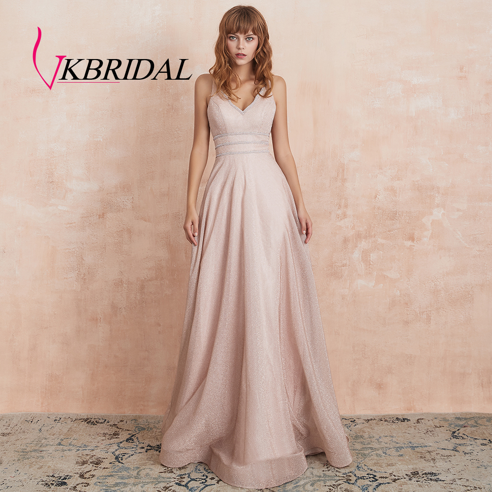 VKbridal Sexy V-Neck Evening Dress 2019 A-Line Sparkle Homecoming Dress Long Lace Up Prom Party Gowns With Crystal Real Picture