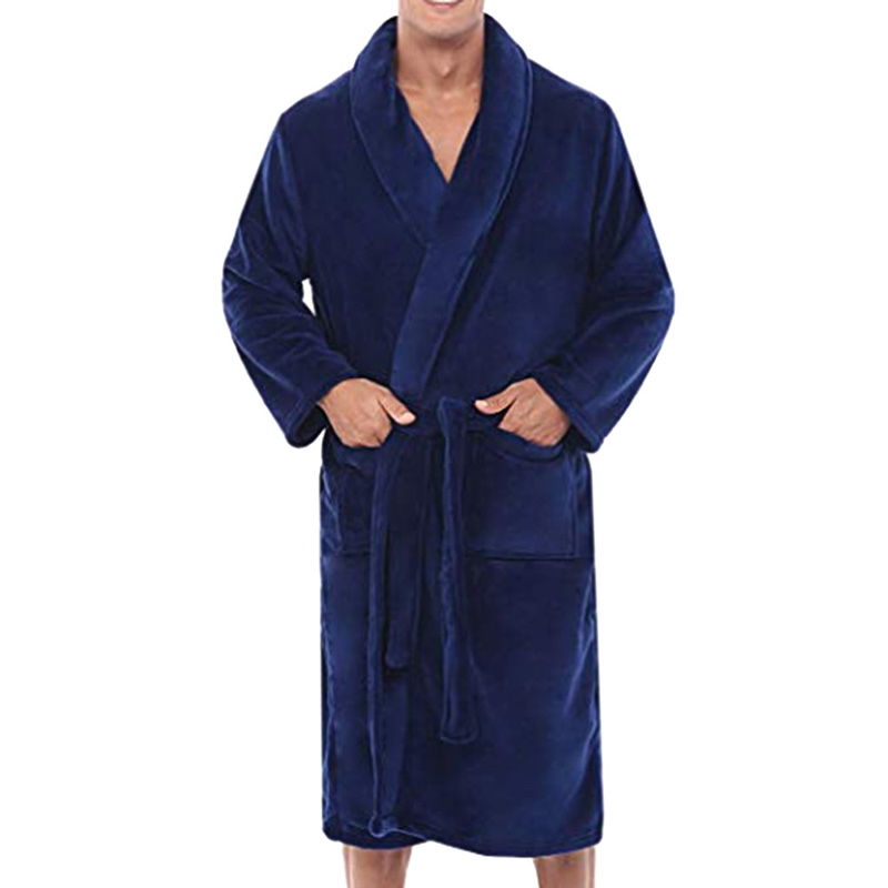 Men's Bathrobe Pajamas Winter Warm Plush Lengthened Shawl Bathrobe Home Shower Clothes Long Robe Coat