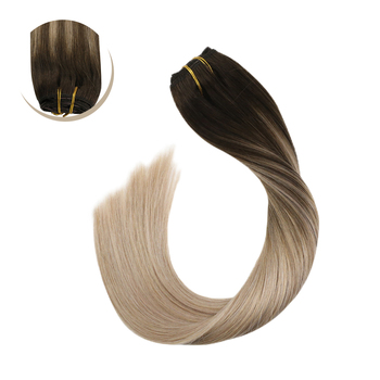 "Clip in Hair Extensions Human Hair Brazilian Straight Human Hair Machine Made Remy Clip Ins 14-22"" Blonde Hair 120G/10PCS Set"