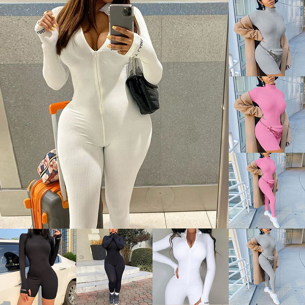 Turtleneck Knit Rib Bodycon Fitness Playsuit Sportswear Long Sleeve Zipper Body Embroidery Lucky Rompers Womens Jumpsuit
