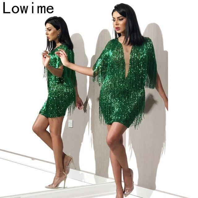 プラスサイズグリーン中東カクテルドレス 2019 マーメイドミニウエディングドレスドバイ女性パーティードレス vestidos デフィエスタ · デ · ノーチェ