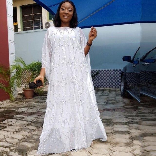 Kadınlar için afrika elbiseler şifon büyük kollu Sequins elbise elbise Maxi uzun çiçek uzun iç afrika giyim