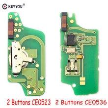 KEYYOU preguntar 2 botón CE0536/CE0523 Flip remoto clave placa electrónica para Peugeot 306, 207, 307, 308, 407, 408 Citroen C2 C5 con ID46