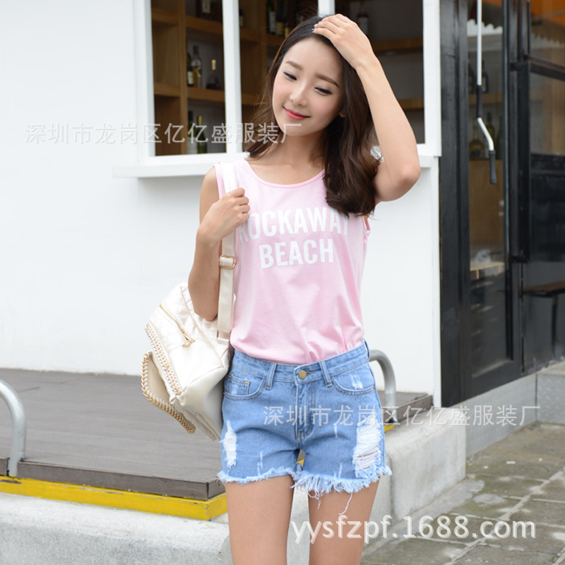 2019 Summer WOMEN'S Denim Shorts With Holes Denim Shorts Hot Pants South America Overstock Stock