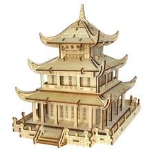 Высокоточная лазерная резка головоломка 3D деревянная тема в китайском стиле модель головоломки для детей-Yueyang башня/желтая башня крана