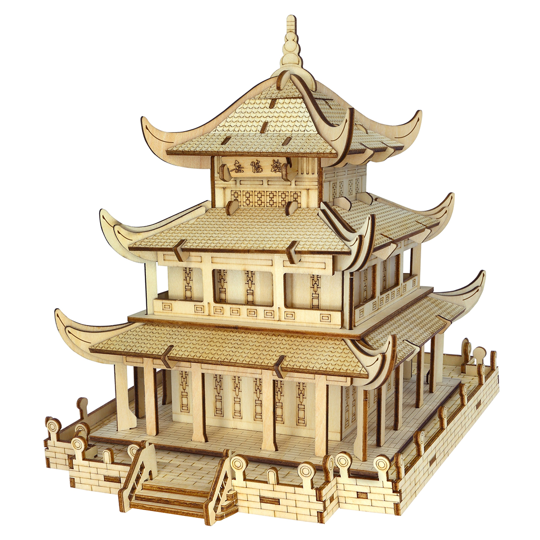 High-Precision Laser Cutting Puzzle 3D Wooden Chinese Style Theme Jigsaw Model For Children - Yueyang Tower/Yellow Crane Tower