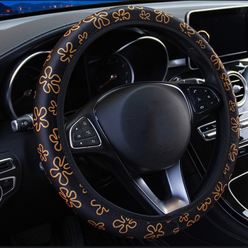 Car Interior Accessories Car Steering Wheel Covers Flowers Print Anti-Slip Steering Covers Car Styling Universal Wheel Cover