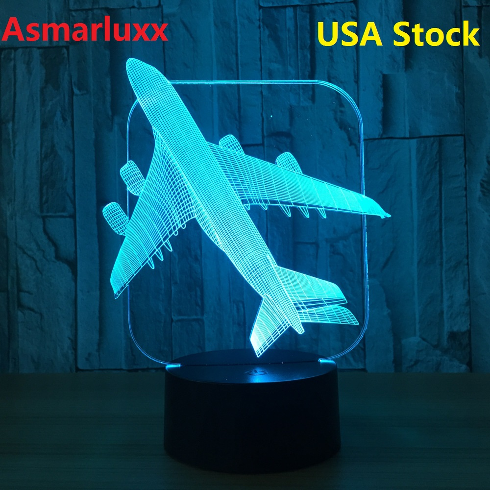 AirPlane 3D LED Light Table Lamp Optical Illusion Bulbing Night Light 7 Colors Changing Birthday Mood Lamp Ship From US or China image