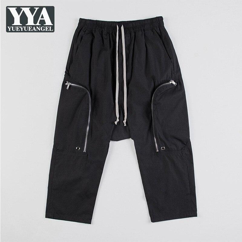 Gothic Harem Pants Men Loose Calf Length Drop Crotch Trousers 2021 Male Hip Hop Fashion Zipper Pockets Lace Up Casual Sweatpants