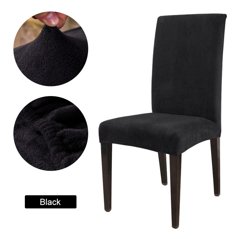 1 to 6 Pcs Removable Chair Cover Made with Stretchable Thick Plush Material for Banquet Chair 15