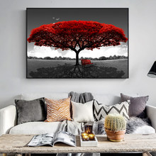 Adornment picture red abstract tree printing oil painting canvas, posters and photographs, household adornment wall art images