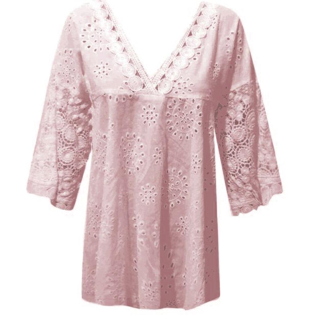 rendas blusas 3 4 manga túnica moda oco topos