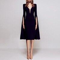 Sexy Bodycon Evening Party Dress Women Flare Sleeve Slim Elegant Work Office Summer Black Solid Club Bodycon Dress Black