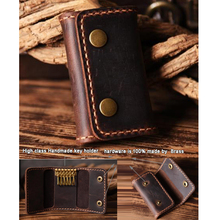 Vintage Handmade Genuine Leather key holder Men Leather Key wallet Keychain men housekeeper women key case Bag key organizer