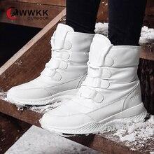 WWKK/женские зимние ботинки; коллекция года; зимние ботинки; женская обувь на плоской платформе; водонепроницаемая обувь; ; Botas Mujer botas femininas De Inverno