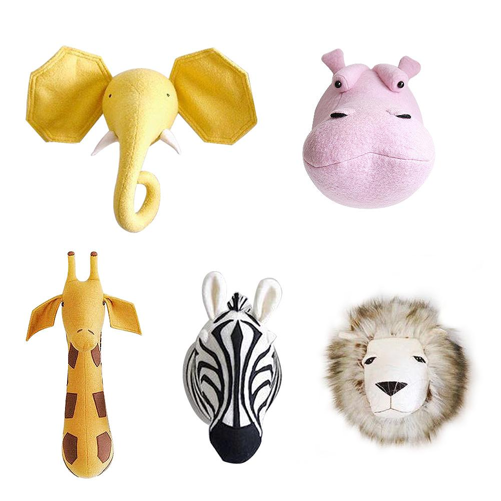 3D Animal Head Plush Doll Wall Mount Stuffed Elephant Giraffe Zebra Lion Toy Wall Hanging Toy Baby Room Kindergarten Decoration