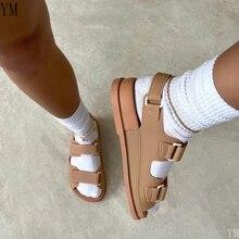 Summer Beach Sandals Woman Flat Slingback Double Strap Slides Velcro Ladies Shoes Comfortable Outdoor Leisure Designer 2021
