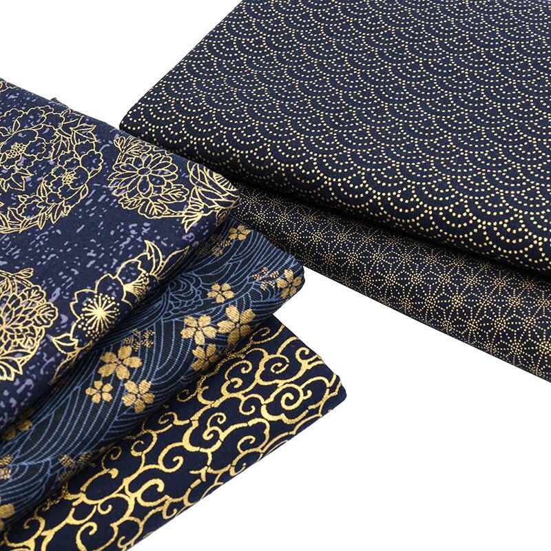 Tecido de algodão marinho por meio jardas tecido de costura japonês para diy kimono artesanato materiais para crianças tj1023