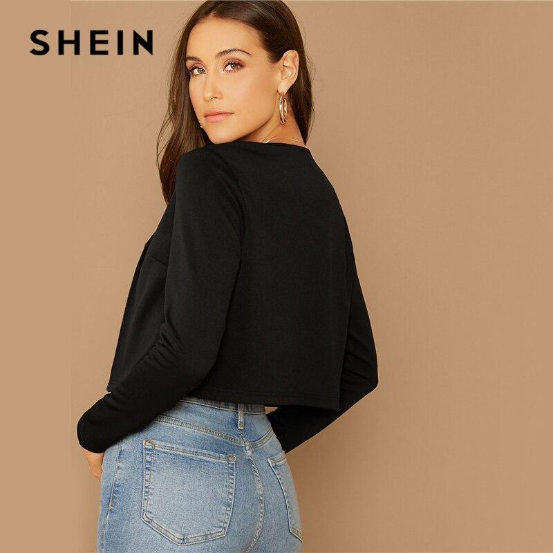 SHEIN Black Solid Shawl Collar Crop Blazer Women Summer Autumn Long Sleeve Elegant Outwear Coats Workwear Blazers 2