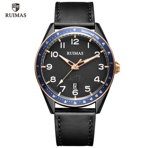 Image 5 - RUIMAS Fashion Mens Watches Luxury Leather Strap Quartz Watch Man Top Brand Military Sports Wristwatch Relogios Masculino 573