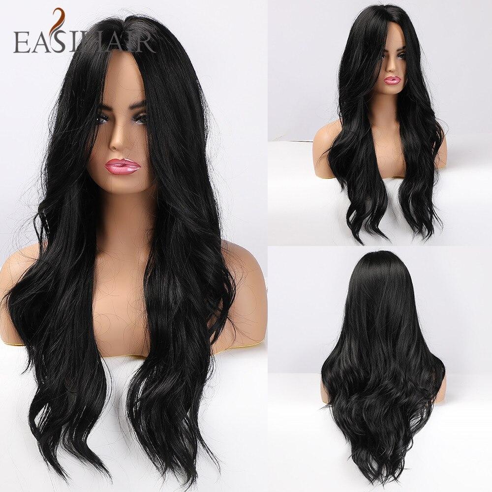 Easihair longo preto perucas de cabelo sintético para as mulheres parte média ondulado cosplay perucas resistente ao calor preto peruca de cabelo natural