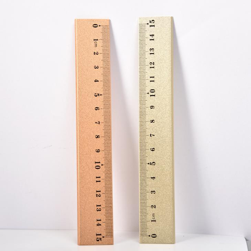 1 Pcs Cute 15cm High Quality Gold Rose Gold Color Durable Metal Ruler Measuring Straight Rulers Bookmarks Stationery Gifts