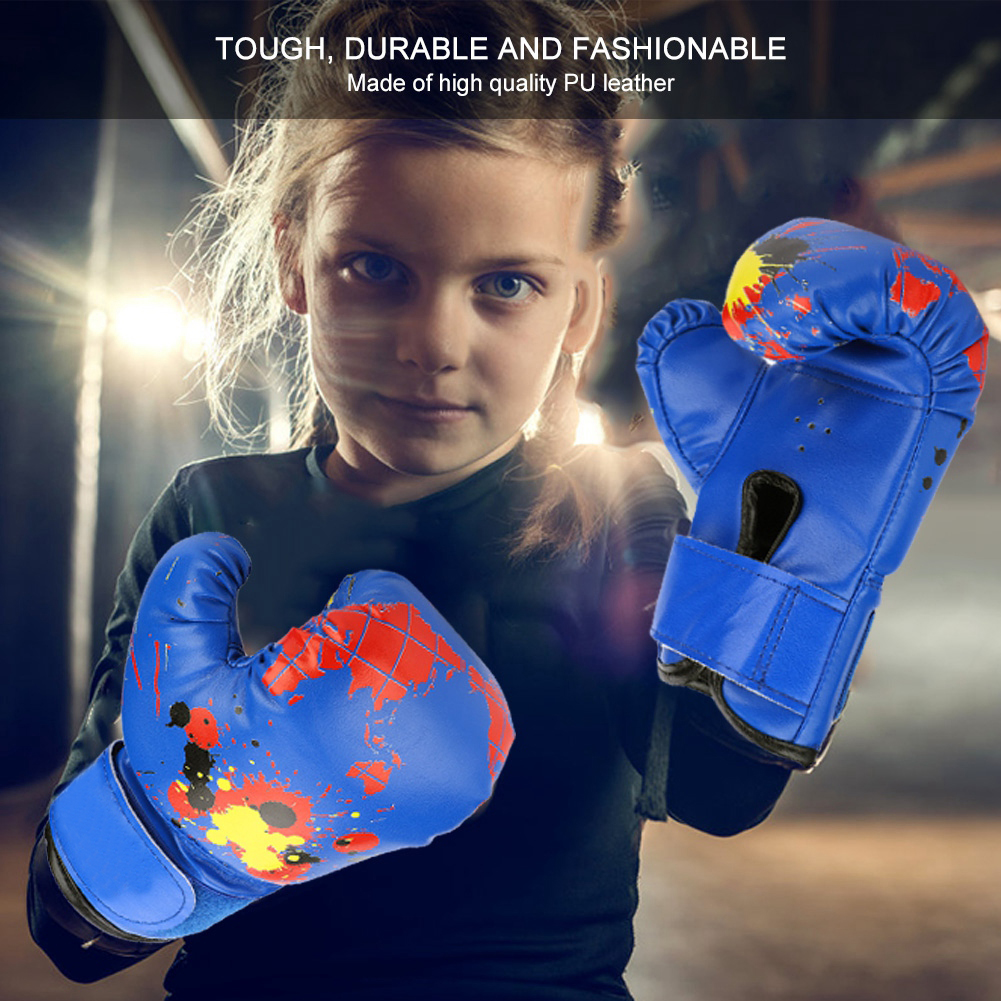 Excellent Workmanship Colorful <font><b>Girls</b></font> Boys Kids <font><b>Boxing</b></font> <font><b>Gloves</b></font> Muay Thai Karate Fight Punch Training Comfortable image