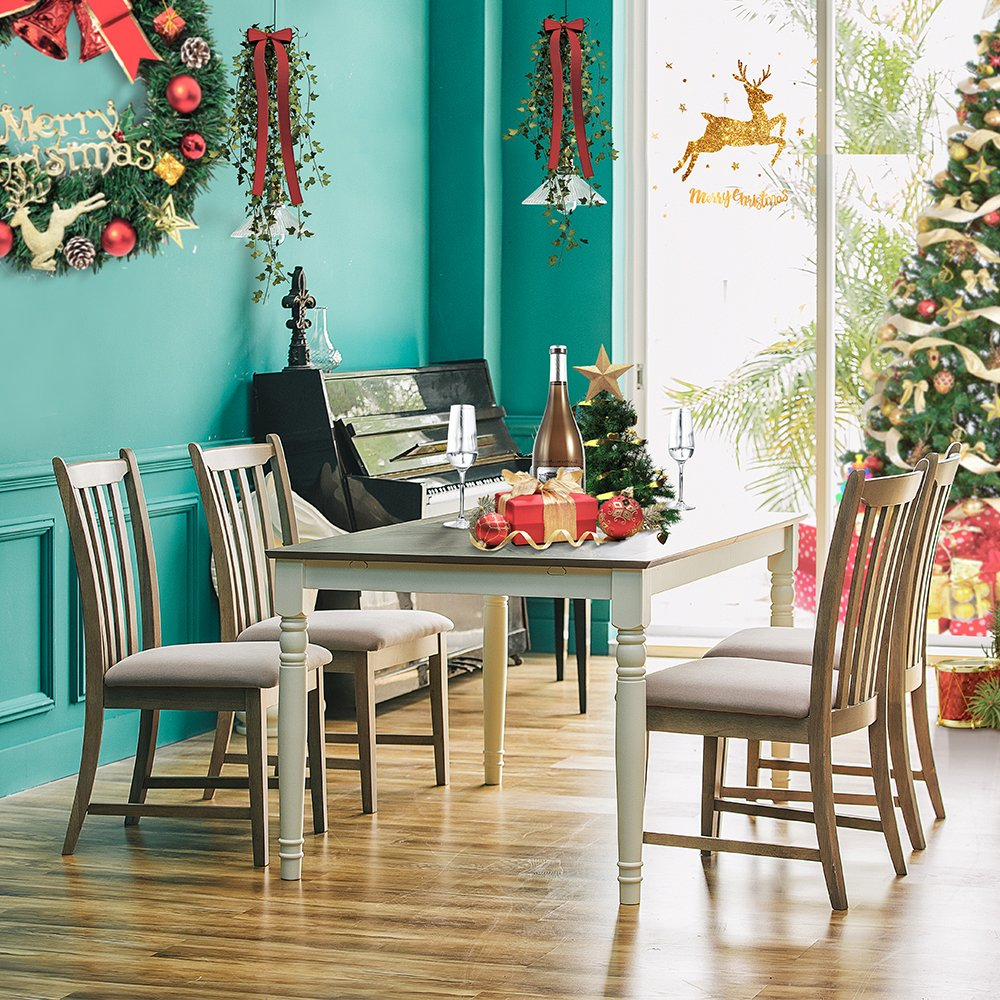 US $99.99 15% OFF|Furgle Christmas Wood Dining Table Set of 5Pcs Dining  Chair for Kitchen Breakfast Furniture Coffee Table Chairs with Fabric Seat  on ...