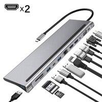Hub USB di tipo C rapido 12 in 1 per doppia Docking station 4K Dual RJ45 Pd USB 2.0 adattatore di ricarica VGA Audio Jack da 3.5mm