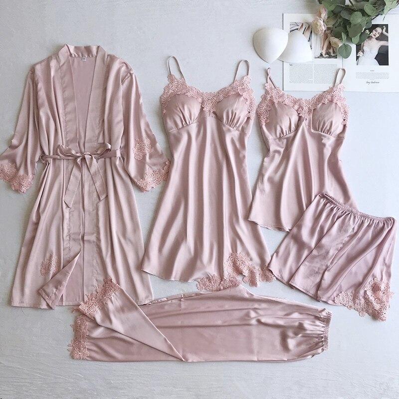 Sexy Women Lace Home Wear Sleep Set Casual Satin Gray Sleepwear Home Clothing  Silky Solid 5PCS Suit Nightgown Sleepwear