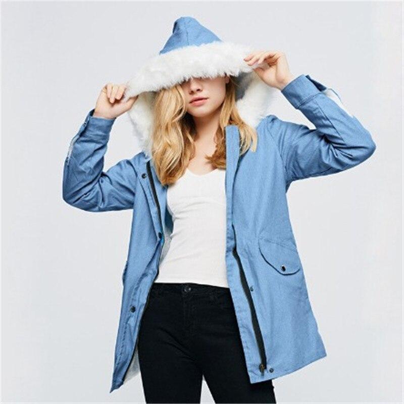 Grand col en fourrure à capuche Denim veste femmes 2019 hiver femme à manches longues Jeans manteau mode grande taille longue Outwear DS50972