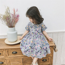 цены BINIDUCKLING 2020 New Summer Baby Girls Dresses Flower Printed Korean Style Short Sleeves Dress For Toddler Girls Dress 1-5 Year
