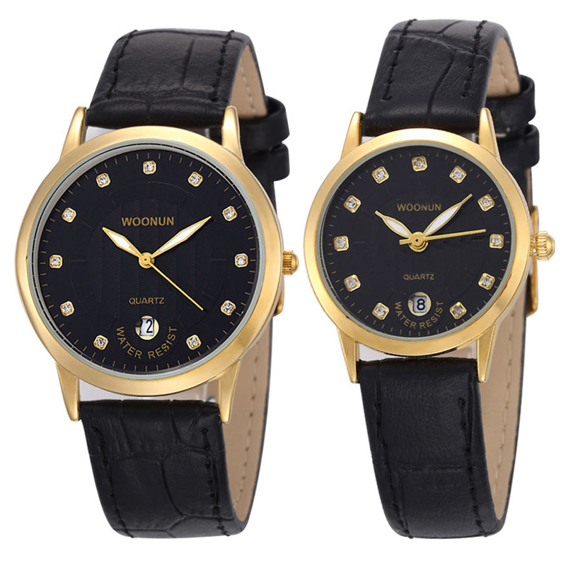 Luxury Lovers Watches Couple WatchesLeather Strap Rhinestone Quartz Watches Fashion Casual Men Women Watches Lovers Watches