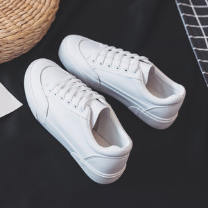 Image 2 - النساء أحذية رياضية أحذية من الجلد الربيع الاتجاه أحذية رياضية غير رسمية الإناث موضة جديدة الراحة الأبيض مبركن أحذية منصة