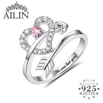 AILIN Trendy Women Rings 925 Sterling Silver Arrow Heart Custom Wedding Ring Cubic Zirconia Engagement Jewelry Size 5 11 12 ainuoshi trendy 925 sterling silver women wedding engagement ring halo 0 5ct emeralded cut ring aniversary gifts anillo de plata